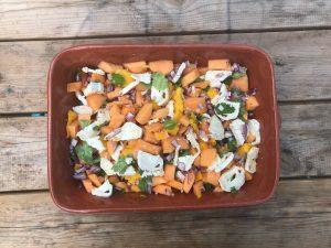 Meloen, mango salade met geitenkaas