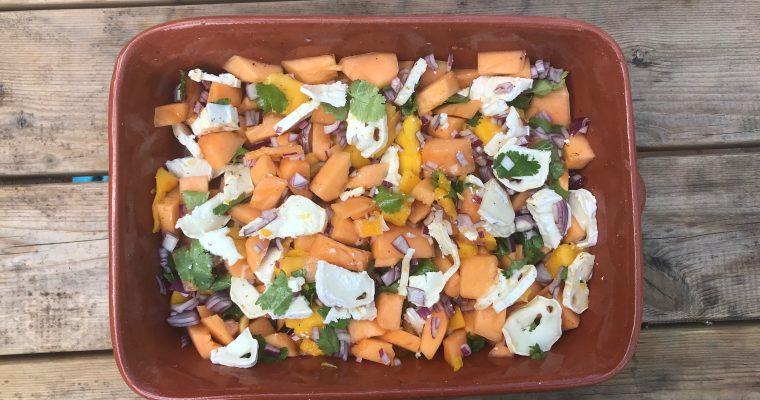 Meloen, mango sla met geitenkaas