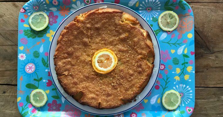 Taart van amandelmeel en mandarijn en citroen
